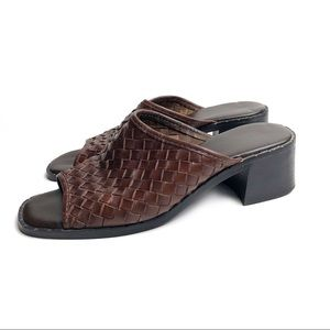 Vintage Leather Collection Brown Woven Mules Heels